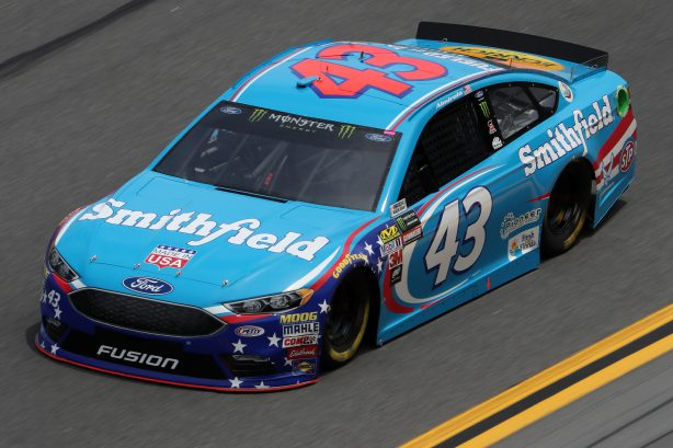 DAYTONA BEACH, FL - FEBRUARY 18:  Aric Almirola, driver of the #43 Smithfield Foods Ford, drives during practice for the Monster Energy NASCAR Cup Series 59th Annual DAYTONA 500 at Daytona International Speedway on February 18, 2017 in Daytona Beach, Florida.  (Photo by Chris Graythen/Getty Images)