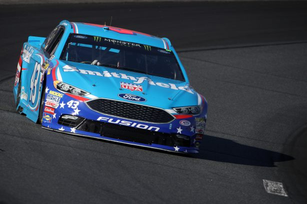 LOUDON, NH - SEPTEMBER 23:  Aric Almirola, driver of the #43 Smithfield Ford, practices for the Monster Energy NASCAR Cup Series ISM Connect 300 at New Hampshire Motor Speedway on September 23, 2017 in Loudon, New Hampshire.  (Photo by Chris Graythen/Getty Images)
